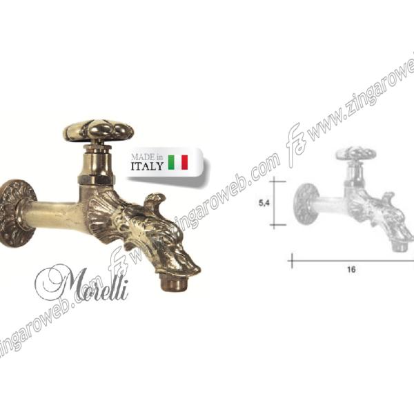 RUBINETTO CON PORTAGOMMA modello RINASCIMENTO ATTACCO 1/2 mm.160x110h OTTONE MORELLI