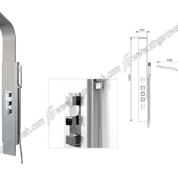 COLONNA DOCCIA modello ORION-T MULTIFUNZIONE DOCCETTA+TERMOSTATICO cm.160x20,5 MI.TO