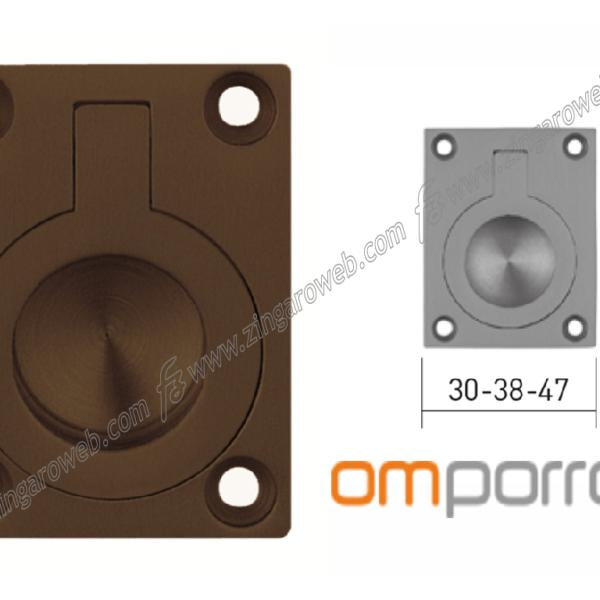 MANIGLIA DA INCASSO RETTANGOLARE CON ANELLO DA 51x38 mm. prodotta da OMP PORRO