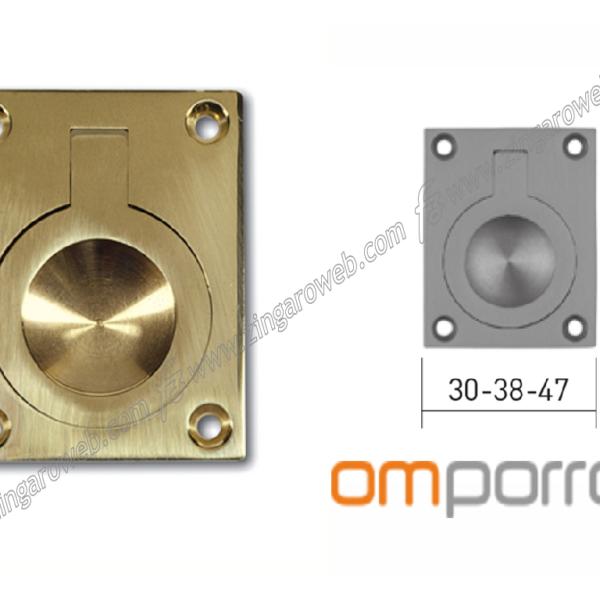 MANIGLIA DA INCASSO RETTANGOLARE CON ANELLO DA 60x47 mm. LUCIDO prodotta da OMP PORRO